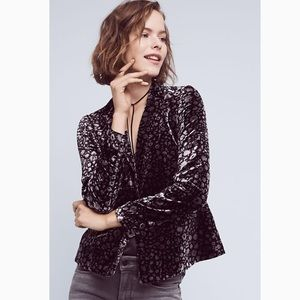 Anthropologie Elevenses Lumi Velvet Blazer 8